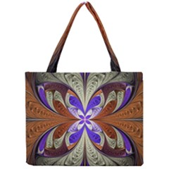 Fractal Splits Silver Gold Mini Tote Bag by Celenk