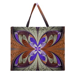 Fractal Splits Silver Gold Zipper Large Tote Bag by Celenk