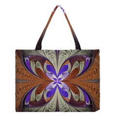 Fractal Splits Silver Gold Medium Tote Bag by Celenk