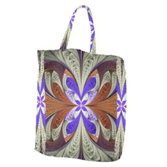 Fractal Splits Silver Gold Giant Grocery Zipper Tote by Celenk