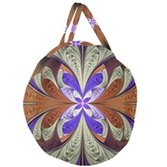 Fractal Splits Silver Gold Giant Round Zipper Tote by Celenk