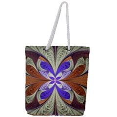 Fractal Splits Silver Gold Full Print Rope Handle Tote (large) by Celenk