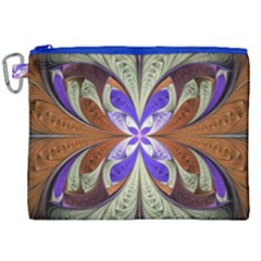 Fractal Splits Silver Gold Canvas Cosmetic Bag (xxl)