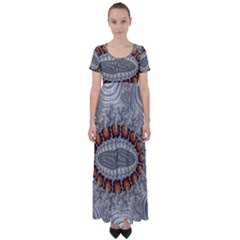 Fractal Fantasy Design Imagination High Waist Short Sleeve Maxi Dress