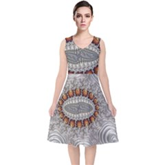 Fractal Fantasy Design Imagination V-neck Midi Sleeveless Dress  by Celenk
