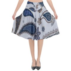 Pattern Embroidery Fabric Sew Flared Midi Skirt by Celenk