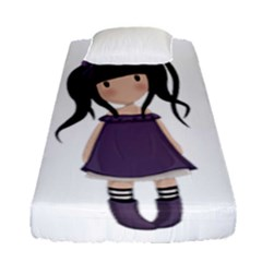 Dolly Girl In Purple Fitted Sheet (single Size) by Valentinaart