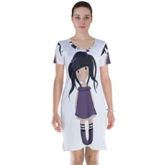 Dolly Girl In Purple Short Sleeve Nightdress