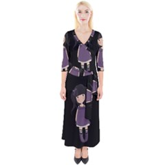 Dolly Girl In Purple Quarter Sleeve Wrap Maxi Dress