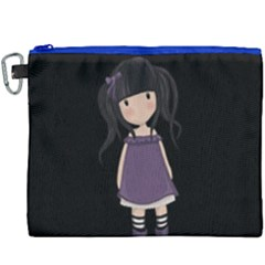 Dolly Girl In Purple Canvas Cosmetic Bag (xxxl) by Valentinaart