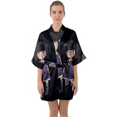 Dolly Girl In Purple Quarter Sleeve Kimono Robe by Valentinaart