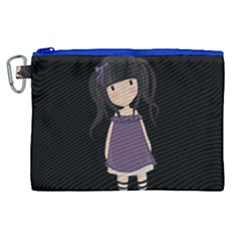 Dolly Girl In Purple Canvas Cosmetic Bag (xl)