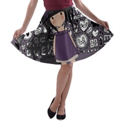 Dolly Girl In Purple A Line Skater Skirt