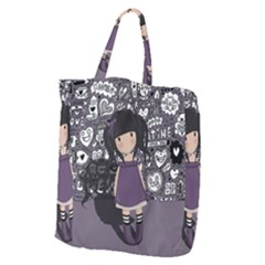 Dolly Girl In Purple Giant Grocery Zipper Tote by Valentinaart