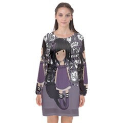 Dolly Girl In Purple Long Sleeve Chiffon Shift Dress