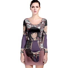Dolly Girl In Purple Long Sleeve Bodycon Dress by Valentinaart