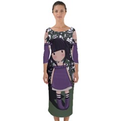 Dolly Girl In Purple Quarter Sleeve Midi Bodycon Dress by Valentinaart