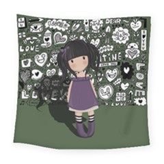 Dolly Girl In Purple Square Tapestry (large) by Valentinaart