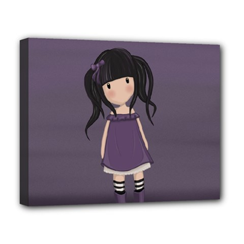 Dolly Girl In Purple Deluxe Canvas 20  X 16