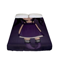 Dolly Girl In Purple Fitted Sheet (full/ Double Size) by Valentinaart