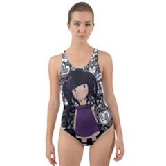 Dolly Girl In Purple Cut-out Back One Piece Swimsuit by Valentinaart