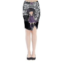 Dolly Girl In Purple Midi Wrap Pencil Skirt