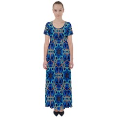 Diamond Star Blue 01 High Waist Short Sleeve Maxi Dress