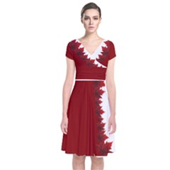 Canada Maple Leaf Art Short Sleeve Front Wrap Dress
