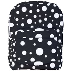 White On Black Polka Dot Pattern Full Print Backpack