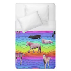 Horses In Rainbow Duvet Cover (single Size) by CosmicEsoteric