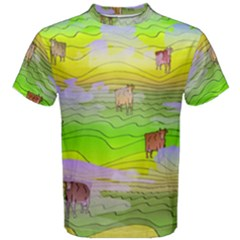 Cows And Clouds In The Green Fields Men s Cotton Tee