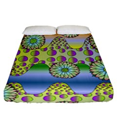 Amoeba Flowers Fitted Sheet (queen Size) by CosmicEsoteric