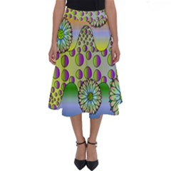 Amoeba Flowers Perfect Length Midi Skirt