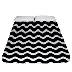 Wave Pattern Wavy Halftone Fitted Sheet (california King Size) by Celenk