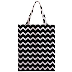 Wave Pattern Wavy Halftone Zipper Classic Tote Bag by Celenk