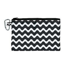 Wave Pattern Wavy Halftone Canvas Cosmetic Bag (medium) by Celenk