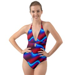 Wave Pattern Background Curve Halter Cut Out One Piece Swimsuit