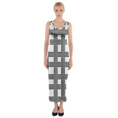 Seamless Stripe Pattern Lines Fitted Maxi Dress