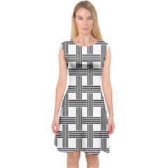 Seamless Stripe Pattern Lines Capsleeve Midi Dress by Celenk