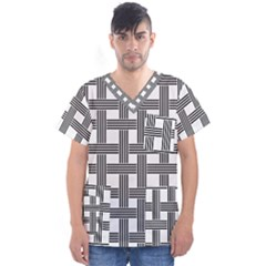 Seamless Stripe Pattern Lines Men s V Neck Scrub Top