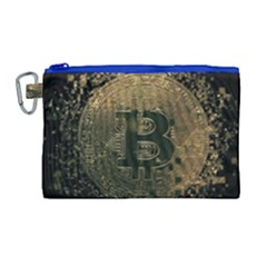 Bitcoin Cryptocurrency Blockchain Canvas Cosmetic Bag (large) by Celenk