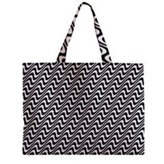 White Line Wave Black Pattern Zipper Mini Tote Bag by Celenk