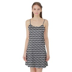White Line Wave Black Pattern Satin Night Slip