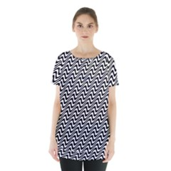 White Line Wave Black Pattern Skirt Hem Sports Top