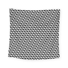 White Line Wave Black Pattern Square Tapestry (small) by Celenk