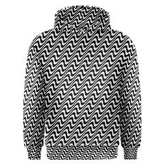 White Line Wave Black Pattern Men s Overhead Hoodie