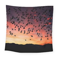 Sunset Dusk Silhouette Sky Birds Square Tapestry (large) by Celenk