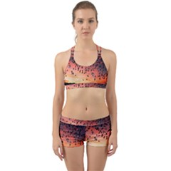 Sunset Dusk Silhouette Sky Birds Back Web Sports Bra Set