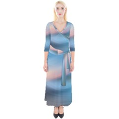 Wave Background Pattern Abstract Lines Light Quarter Sleeve Wrap Maxi Dress