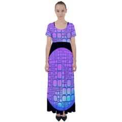Sphere 3d Futuristic Geometric High Waist Short Sleeve Maxi Dress